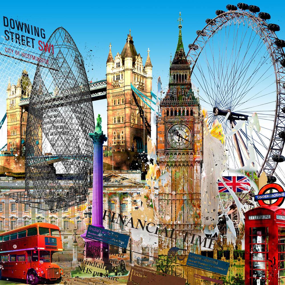"""Die Hauptstadt Englands und Großbritanniens mit dem legendären Uhrturm """"Big Ben"""", der Tower Bridge, dem London Eye, dem Buckingham Palace und Cherkin."""