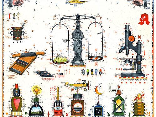 apotheker, waage, mörser, pillen, farbradierung, leslie g. hunt, mikroskop