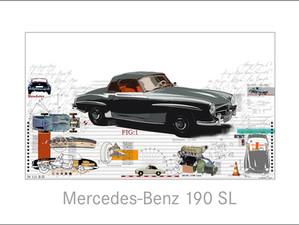 Auto Kunst-Mercedes Benz 190 SL
