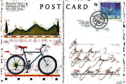 fahrrad, bicycle, tour, farbradierung, postcard, postkarte, farbradierung, leslie g. hunt