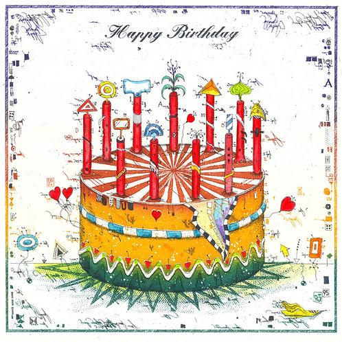 Farbradierung-Happy Birthday-Leslie G. Hunt