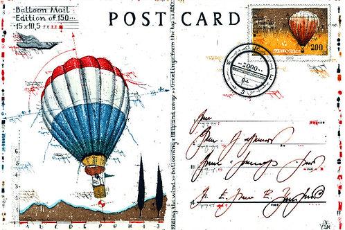balloon, postcard, postkarte, stamp, briefmarke, heissluftballon, farbradierung, leslie g. hunt