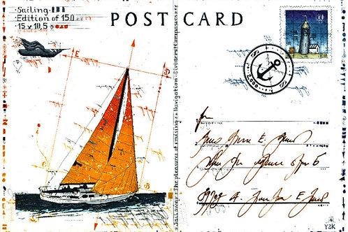 sailing, yacht, segelschiff, farbradierung, postcard, postkarte, leslie g. hunt