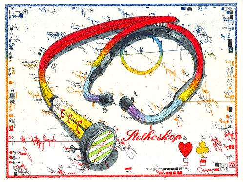 Farbradierung - Stethoskop - Leslie G. Hunt