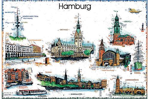 Hamburg, Stadtansicht, Alster Arkaden, Alster, Bahnhof, Leslie G. Hunt
