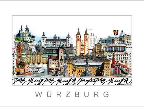 City Print, Stadtansicht, Würzburg, Wuerzburg, Käppele, Marienburg