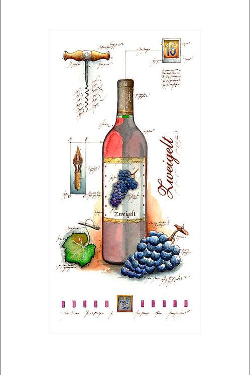 fine art print, wine panel, weinflasche, zweigelt, leslieghunt