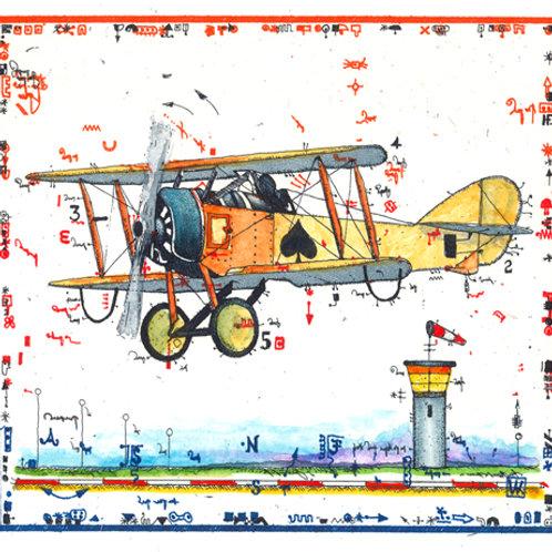 Farbradierung - Flugzeug - Leslie G. Hunt