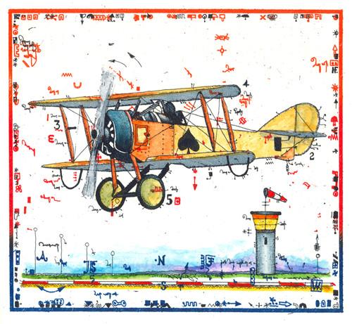 Farbradierung Airplane Miniatur