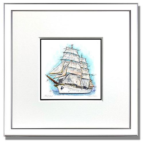 Gorch Fock, Schiff, Segelschiff, Gouache, Rahmen