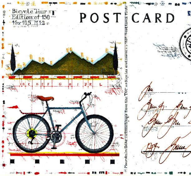 Farbradierung Bicycle Tour Postcard