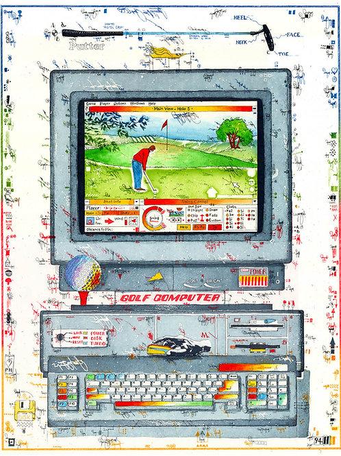 farbradierung, computer, golf, golfball, golfschläger, golfer, tastatur, leslie g. hunt, sport