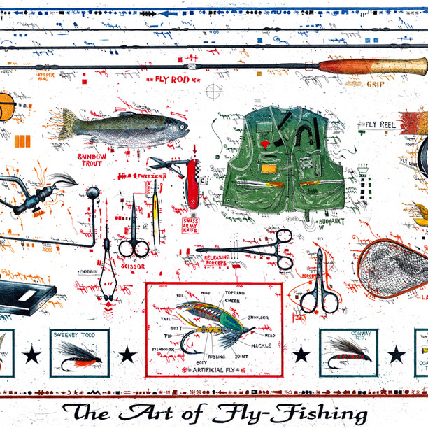 Farbradierung The Art of Fly Fishing