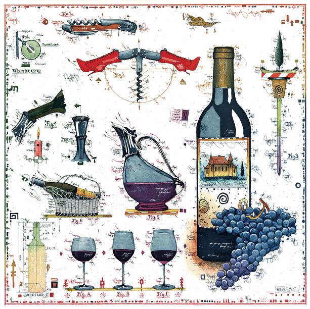 Farbradierung Für den WeinLiebhaber