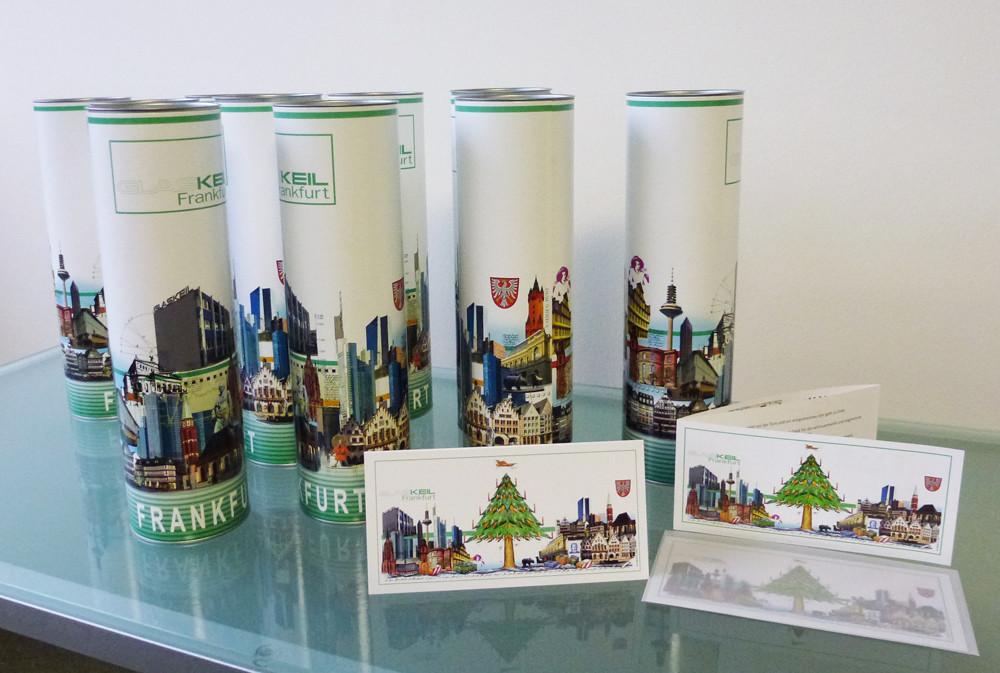 Flaschenverpackung und Weihnachtskarte und WK Kalender