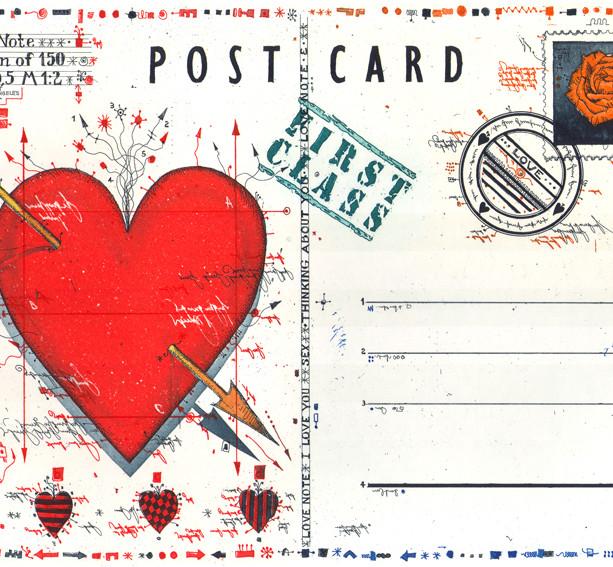 Farbradierung Love Note Postcard II
