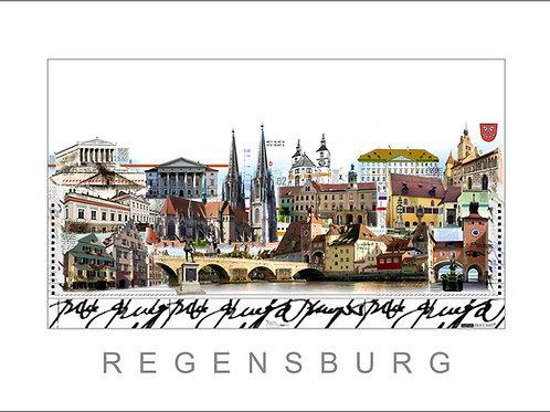 Fine Art Print - Stadtansicht - City Print - Regensburg - Leslie G. Hunt