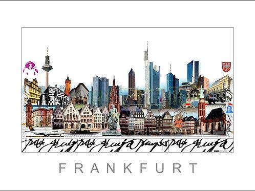 Fine Art Print, Stadtansicht, Frankfurt am Main, Leslie G. Hunt, Römer, Messeturm, Paulskirche, EZB