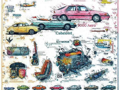 Farbradierung - Autokunst - SAAB Story - Leslie G. Hunt