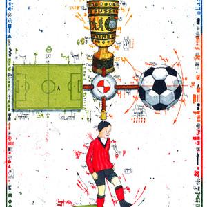 Farbradierung MultiTool Fußballfan