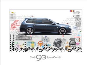 Auto Kunst-SAAB Sport Combi Leslie G. Hu