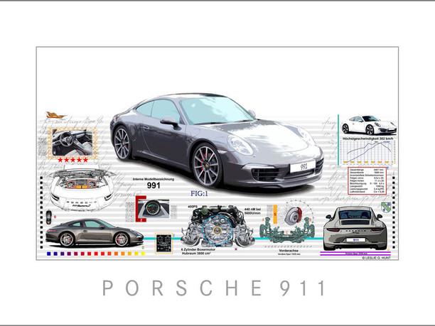 Auto Kunst-Car Art-Porsche 991