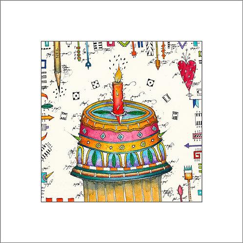 Happy Birthday, Torte, Kuchen, Herz, Kerze, Leslie G. Hunt