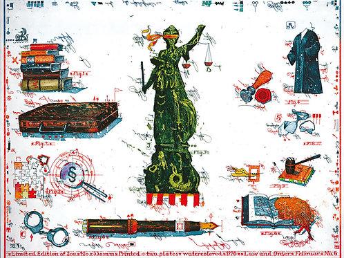 law and order. rechtsanwalt, justizia, handschellen, fueller, gesetzbuecher