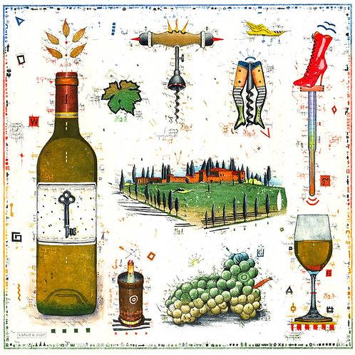 weißwein, weinflasche, korkenzieher, weintrauben, toskana