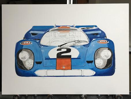Neue Gouache GULF Porsche 917