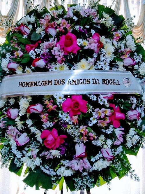 Coroa Redonda Media com Rosas e Flores do Campo