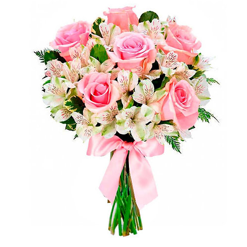 Buquê  Princesa, 6 Rosas e 6 Astromélias