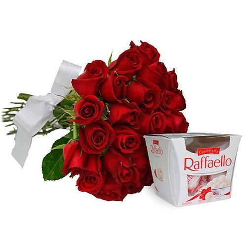 Buque 50 rosas  colombianas e  Raffaello.