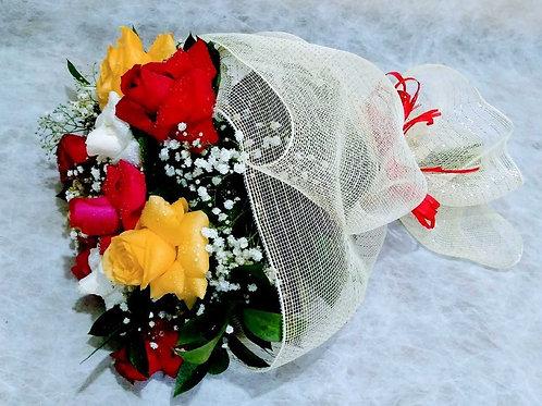 Buquê Primavera, 12 Rosas Coloridas  na telinha.
