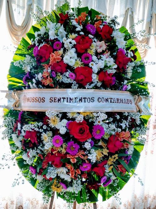 Coroa Media com Rosas e Gerberas