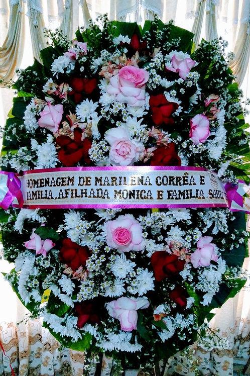 Coroa Media com Flores do Campo e Rosas