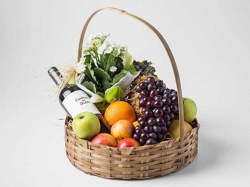 Cesta de Frutas, Vinho e Flor