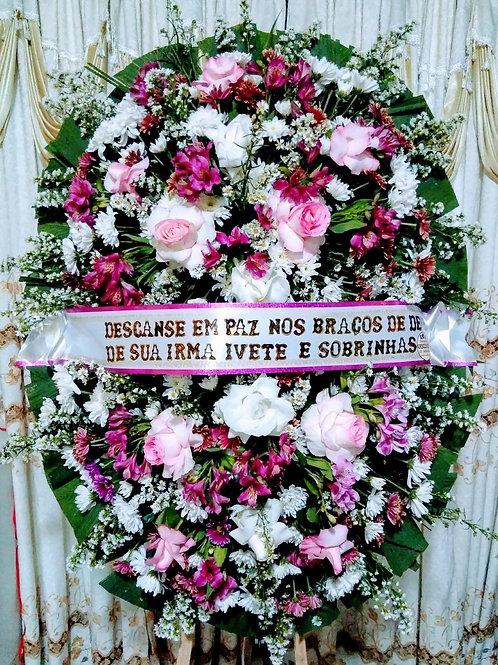 Coroa Media com Rosas, Astroemelia  e Flores do Campo