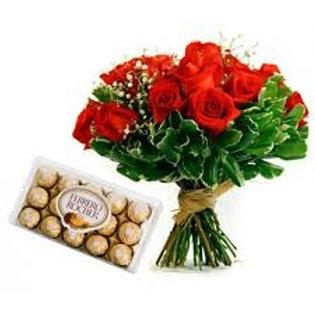 12 rosas  importadas  e Ferrero.