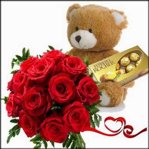 Kit Romântico, 12 rosas colombianas, urso de pelúcia e Ferrero.