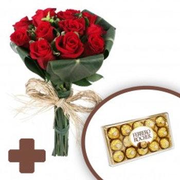 12 Rosas importadas  e Ferrero