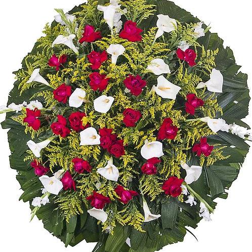 Coroa Redonda com Rosas e Copos-de-Leite
