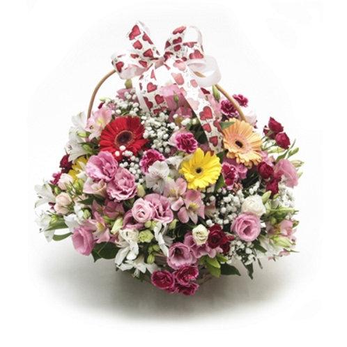 Cesta Mista com Flores Nobres