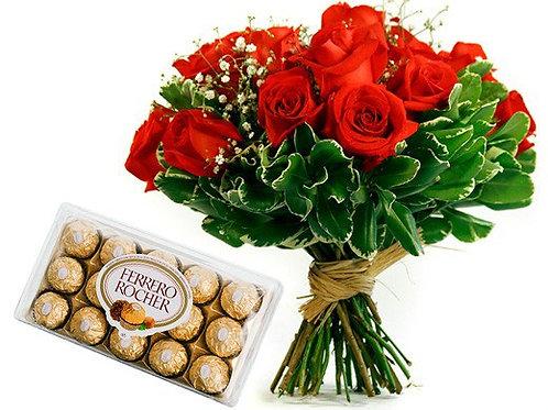 Buquê  12 rosas e chocolate.