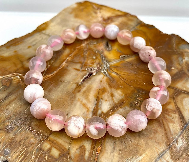 Natural Cherry Blossom Flower Agate  Stretch Crystal Healing Bracelet