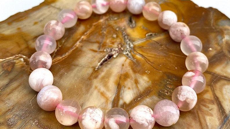 Natural Cherry Blossom Flower Agate  Stretch Crystal Healing Bracelet
