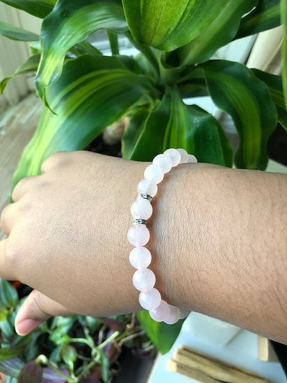 Children's  8MM Rose Quartz Gemstone Bracelet