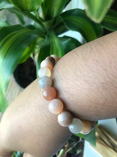 Natural Mix color Moonstone Stretch Bracelet