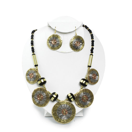 Woven Brass Necklace and Earring Set