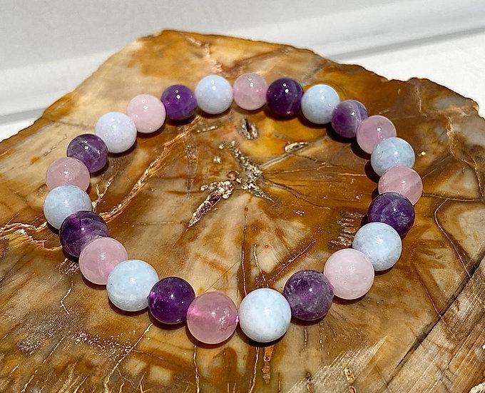Natural  Amethyst, Rose Quartz and Aquamarine Crystal  Stretch Bracelet,